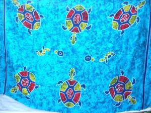 blue beach sarong 6 large turtles