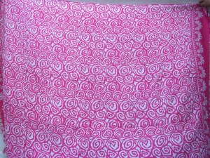 Bali sarong small pink swirls on white background