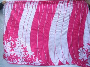 women's clothing pink white strips with flowers on two corners