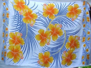 hibiscus Hawaiian tropic print sarong yellow orange flower palm leaf on white