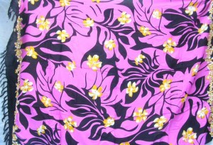 women garments pink sarong pareo with plumeria flower and black leaf