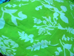monocolor green sarong screen printings with leaves, sun, dolphin, seashell, palm leaves etc tropical designs