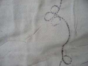 sarong very light grey plain with embroidery