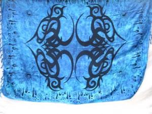 blue tribal tattoo kanga sarong