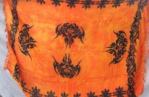 orange tribal tattoo kanga sarong