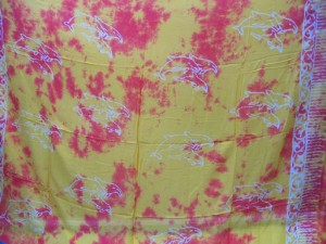mixed color sarong screen printings with leaves, sun, dolphin, seashell, palm leaves etc tropical designs