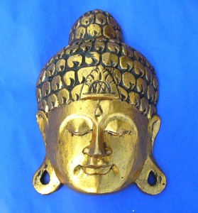 entire golden buddha face mask