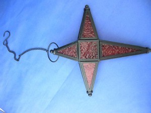 red stained glass hanging cross candle holder, made in China