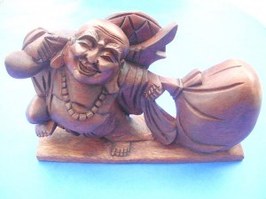 Happy Buddha Laughing Buddha Pu-tai Hoshang or hemp-bag monk. Carrying a cloth hemp sack which full of happiness, wealth and health.