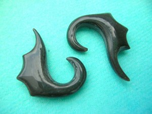 Black Bone Horn Ear Plugs Pair Set
