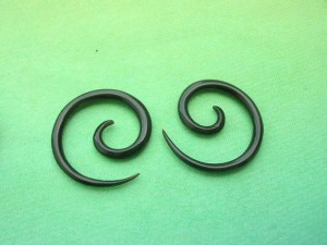 Water Buffalo Horn Spirals For Pierced Ears