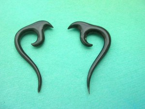 fish hook tribal horn bone earring