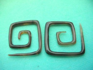 square spiral horn earring stretcher