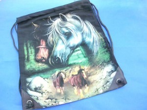 screen printing cotton canvas cinch bag with horse design