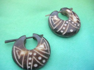 Natural Horn Bone Carving Stick Earrings