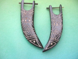 organic carved horn stick earrings tribal designs