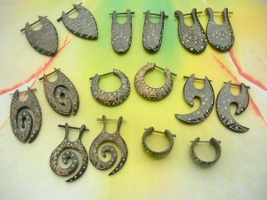 mixed tribal design peg earrings horn jewelry