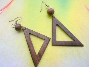 wooden French hook earring triangle