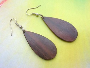 wooden French hook earring raindrop shape