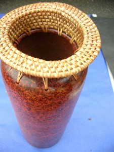 Bali ceramic vase with rattan top local pickup only, not available to ship out