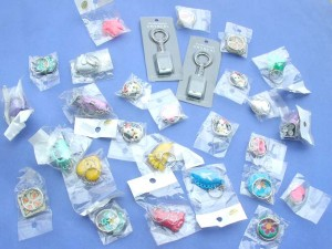 keychains assorted designs made with plastic, fimo, arcrylic material