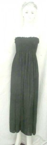 Strapless maxi long dress in solid plain black, Assorted colors designs randomly picked by our warehouse staffs