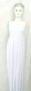 Strapless maxi long dress in solid plain white, Assorted colors designs randomly picked by our warehouse staffs