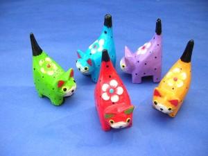 mini short tail cats set, 5 cats per set, bright painting