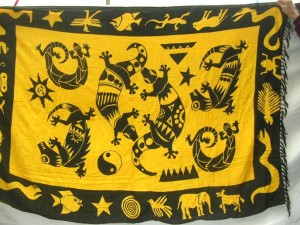 heppy accessories yellow black sarong with gecko primitive design