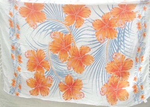 orange hibiscus white sarong beach accessories