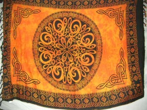 orange Celtic sarong dress with large circle in center