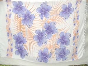 purple hibiscus flower orange palm leaf on white rayon fabric