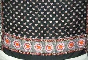 orange red elephant black sarong
