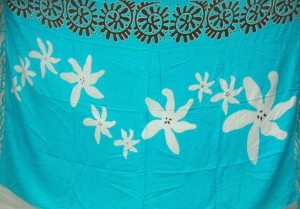 blue sarong white flowers