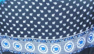 blue black elephant sarong