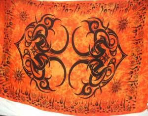 hippie fashion orange tattoo tribe kanga pareo