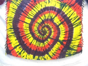 beach sarong tiedye red yellow brown swirl