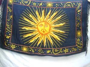 wholesale celestial sarong black with sun face