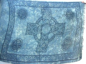 grey Celtic cross rayon sarong. Celtic cross also named as The Irish Cross, The Irish High Cross