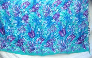 floral garden design blue sarong beach coverup