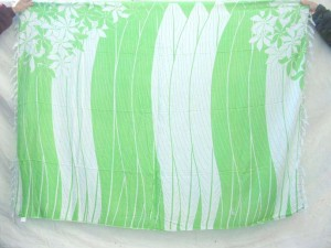 green and white strips with flowers on two corners