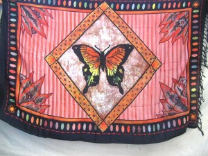 red sarong with butterfly in diamond frame