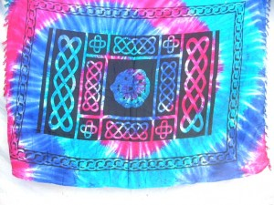 swirl tie dye sarong with celtic designs intricate knotwork scenes