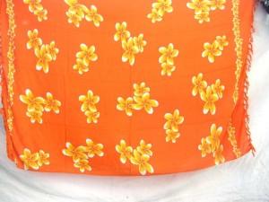 plumeria flowers orange women dress sarong