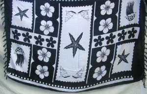 black and white seashell and flower sarong