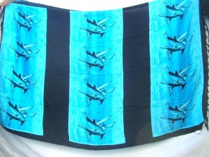 sarong blue and black dolphin strips