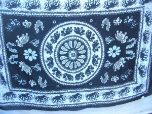 black and white elephant sarong