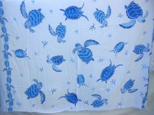 white sarong with blue sea turtle