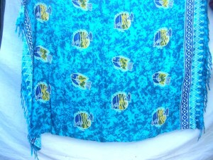 blue sarong pareo sea lifes colorful fishes