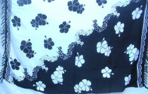 black and white yingyang color floral hibiscus design sarong